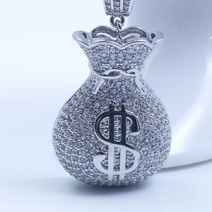 """Icy Silver Money Bag + 20"""" Rope Chain"""